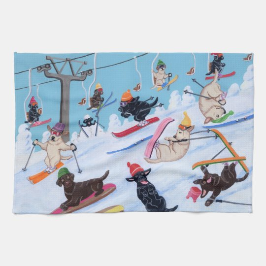 Winter Fun Skiing Labradors Painting Towels