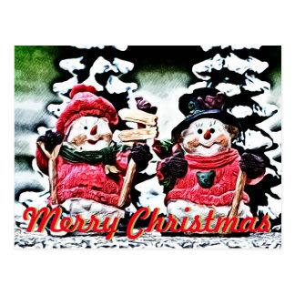 Winter Fun Snowman Christmas Postcard