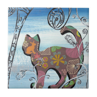Winter Garden Cat Ceramic Tile