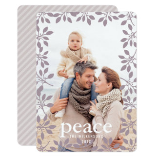 Winter Garland Peace Holiday Photo Card