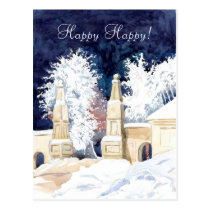 Winter gate at night watercolor postcard