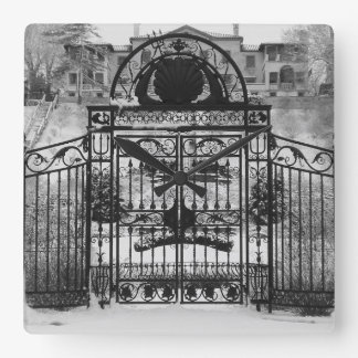 Winter Gate Square Wall Clock