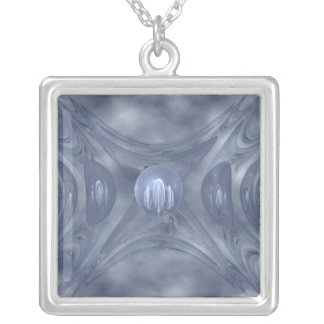 Winter Gates Abstract Art Silver Plated Necklace