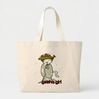 Winter Geisha Kitty Canvas Bag