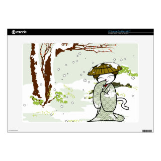 """Winter Geisha Kitty Decal For 15"""" Laptop"""