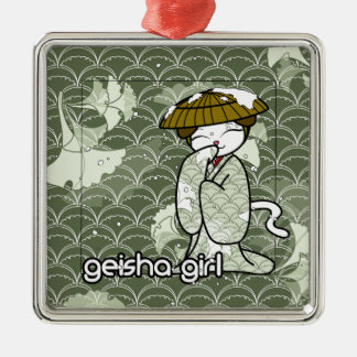 Winter Geisha Kitty Metal Ornament