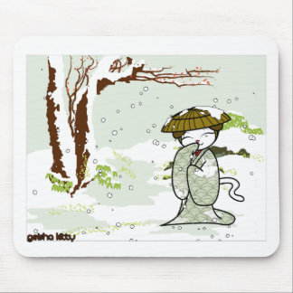 Winter Geisha Kitty Mouse Pads
