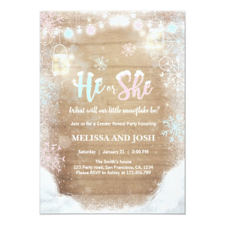 Winter Gender reveal invitation Cold Outside Snow