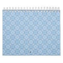 Winter Geometric Seamless Pattern in Light Blue Calendar