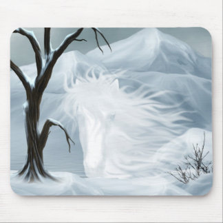 Winter ghost horse mouse pad