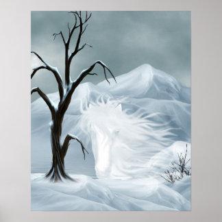 Winter ghost horse print