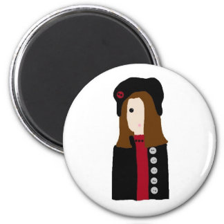 Winter Girl 2 Inch Round Magnet