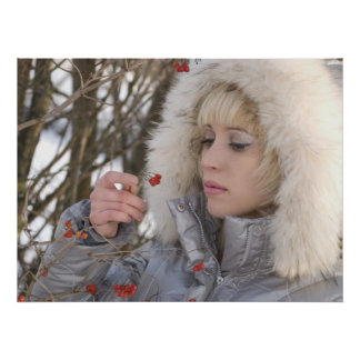 Winter Girl And Red Berries Poster