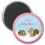 Winter Girl Forest Animal Party Favor Magnets