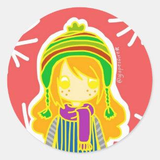 Winter Girl Classic Round Sticker