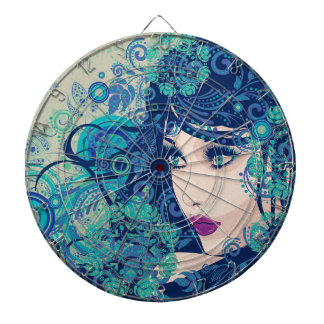 Winter Girl with Floral Grunge 3 Dart Board
