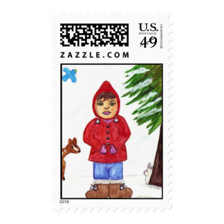 Winter Girl with Friends Postage Stamp