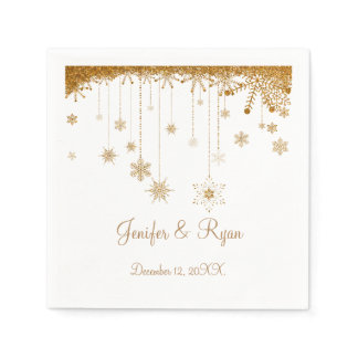 Winter glitter snowflakes wedding  Napkins