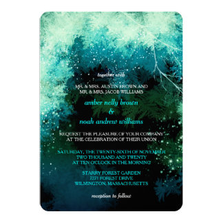 Winter Glitters Mystic Forest Wedding Card
