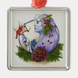 Winter Goddess Square Metal Christmas Ornament