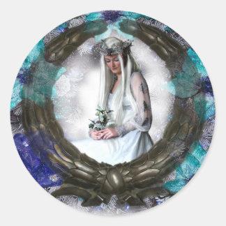 Winter Goddess (Stickers) Classic Round Sticker