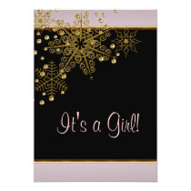 Winter Gold Black Pink Snowflakes Baby Girl Shower Card