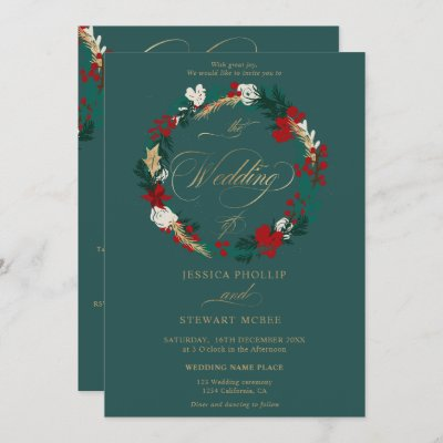 Winter gold green all in one calligraphy wedding invitation
