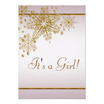 Winter Gold Pink Snowflakes Baby Girl Shower Card