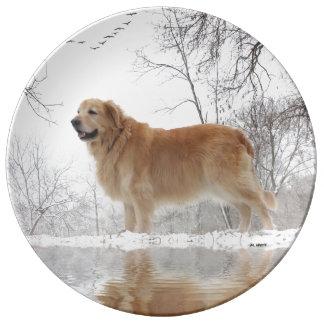 Winter Golden Porcelain Plate