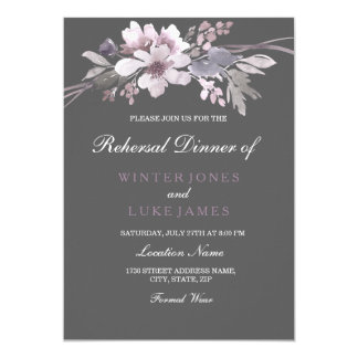 Winter Gray Purple Floral Wedding Rehearsal Dinner Card