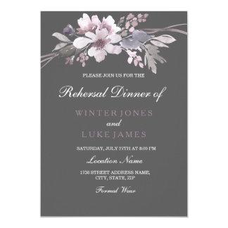 Winter Gray Purple Floral Wedding Rehearsal Dinner Invitation
