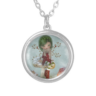 winter green silver plated necklace