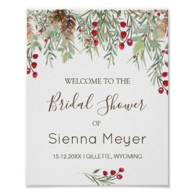 Winter Greenery Pine Bridal Shower Welcome Sign