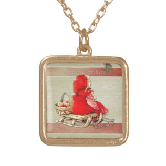 Winter Greetings Gold Plated Necklace