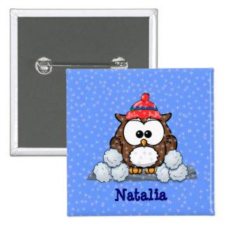winter greetings pinback button