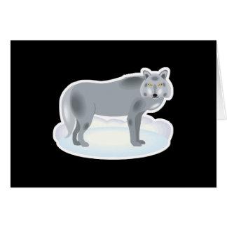 winter grey wolf card