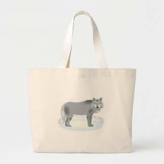 winter grey wolf large tote bag