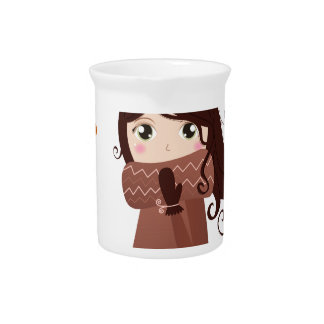 Winter hand-drawn girl : Brown drawing Drink Pitcher