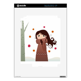 Winter hand-drawn girl : Brown drawing Skin For iPad 2
