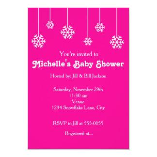 Winter Hanging Snowflakes Hot Pink Invitations