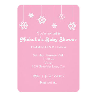 Winter Hanging Snowflakes Pink Party Invitation