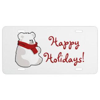 Winter Happy Holidays Polar Bear Cartoon License Plate