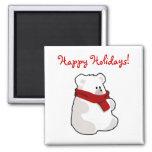 Winter Happy Holidays Polar Bear Cartoon Refrigerator Magnet