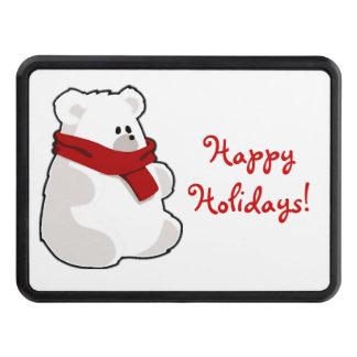 Winter Happy Holidays Polar Bear Cartoon Tow Hitch Covers