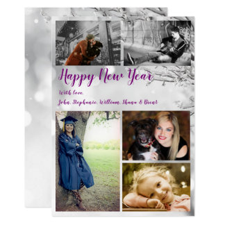 Winter Happy New Year Icy Branches Photo Card