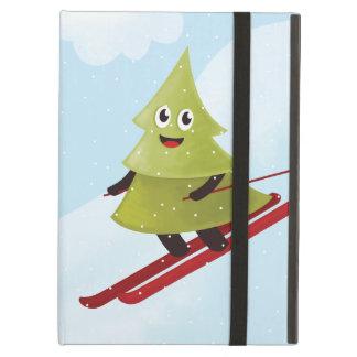 Winter Happy Pine Tree On Ski Folio iPad Air Case