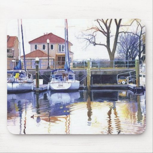 """""""Winter Harbor"""" Boats Watercolor Mouse Pad"""