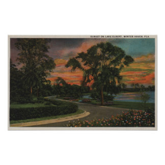 Winter Haven, Florida - Sunset View of Lake Poster