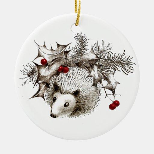 Winter Hedgehog Holiday Ornament