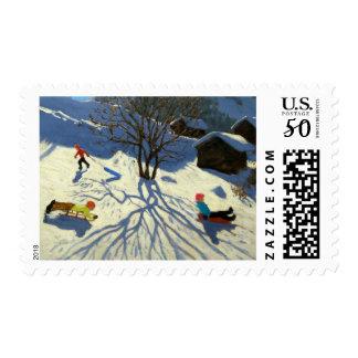 Winter hillside Morzine France Postage